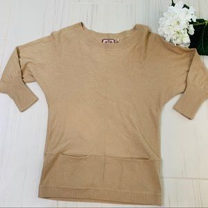 Juicy Couture Tan Front Pocket Sweater M/L